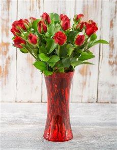 flowers: Romantic Rendezvous Red Rose Arrangement!