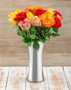 flowers: Radiant Mixed Giant Ethiopian Roses Arrangement!