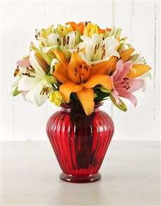 flowers: Mixed Asiflorum Lilies in Lantern Vase!