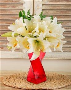 flowers: St Joseph Lilies in a Red Twisty Vase!