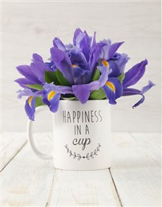 flowers: Happiness in a Cup of Iris Arrangement!