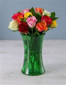 flowers: Rose Medley in Glass Vase!
