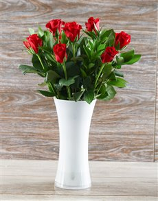 flowers: Red Roses in a White Flair Vase!