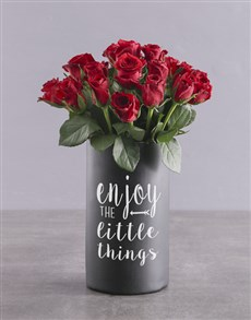 flowers: Red Roses in Chalk Vase!