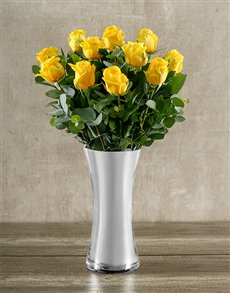 gifts: Yellow Roses in Classy Silver Vase!