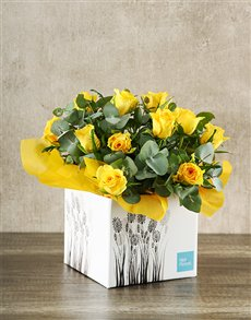 flowers: Yellow Roses in White Craft Box!