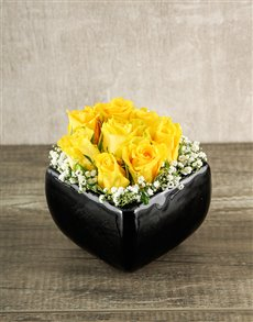 flowers: Yellow Roses in Square Black Vase!
