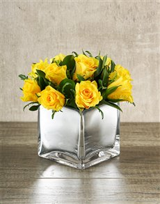 gifts: Yellow Roses in Square Silver Vase!