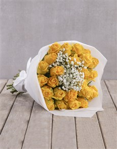 gifts: Yellow Rose Bouquet in Wrapping!