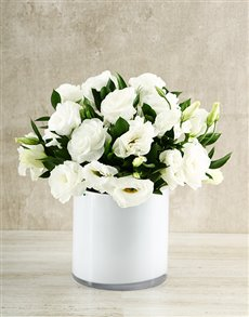 flowers: White Lizzies in a White Vase!