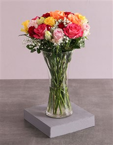 flowers: Mixed Roses and Million Stars in a Vase!
