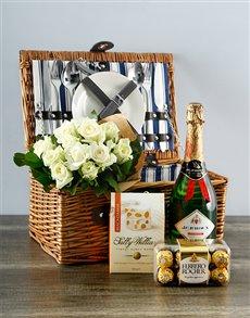 flowers: White Rose Delight Picnic Basket!