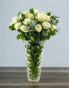 flowers: White Roses in a Crystal Vase!