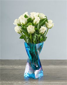 flowers: White Roses in a Blue Twisty Vase!