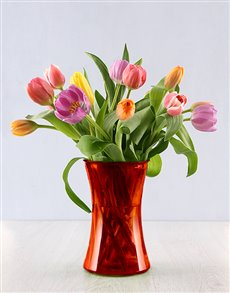 gifts: 15 Bright Tulips in a Red Flair Vase!