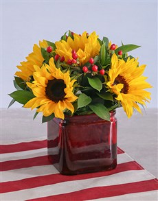 flowers: Sunflowers in a Square Vase!