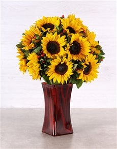 flowers: Sunflowers in a Tall Red Vase!