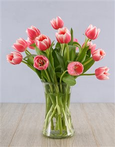 flowers: Pink Tulips in a Clear Vase!