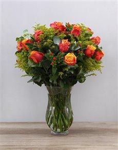 flowers: Cherry Brandy Roses in Hurricane Vase!