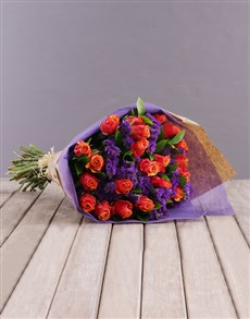 flowers: Cherry Brandy Roses and Statice Bouquet!