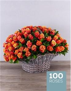 flowers: Gray Basket of Cherry Brandy Roses!