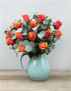 flowers: Cherry Brandy Roses in Ceramic Jug!