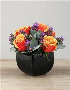 flowers: Cherry Brandy Roses in Black Glazed Vase!