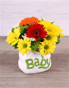 flowers: Neutral Gender Ceramic Baby Bag Arrangement!