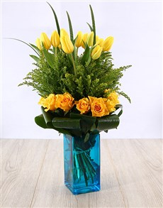 gifts: Yellow Tulips and Roses in Blue Vase!