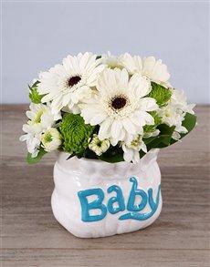 flowers: Pure White Ceramic Baby Bag Arrangement!