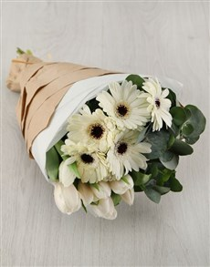 gifts: White Tulips and Gerberas in Craft Paper!