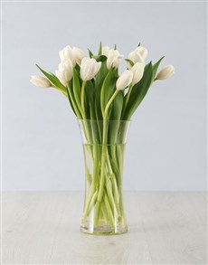 gifts: White Tulips in Tall Flair Vase!