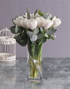 flowers: White Tulips and Gum Leaves in Vase!