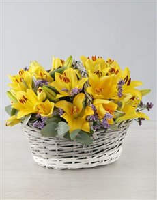flowers: Yellow Asiflorum Lilies in Willow Basket!