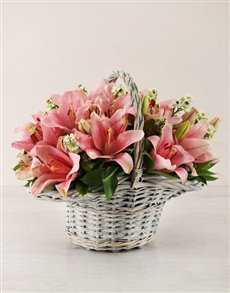 flowers: Pink Asiflorum Lily Basket!