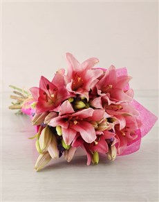 flowers: Pink Asiflorum Lily Bouquet!