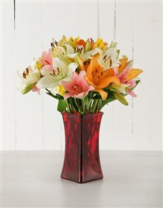 flowers: Mixed Asiflorum Lilies in Red Vase!