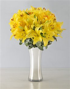 flowers: Yellow Asiflorum Lilies in Silver Vase!