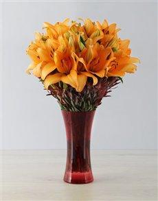 flowers: Orange Asiflorum Lily Safari Vase!