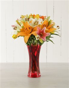 flowers: Red Vase of Mixed Asiflorum Lilies!