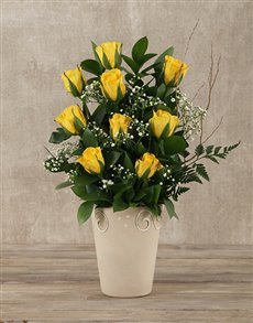 gifts: Yellow Roses Pot!