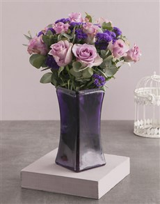 gifts: Roses and Mixes in Purple Square Vase!