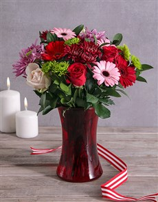 flowers: Mixed Flowers in Red Flair Vase!