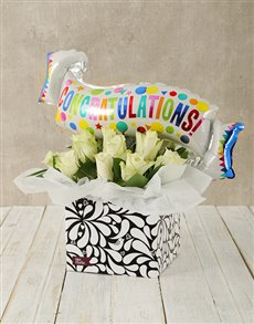 gifts: Congratulations White Rose and Balloon Box!