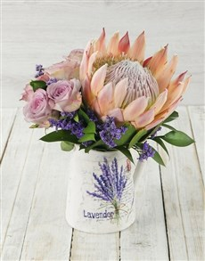 flowers: King Protea and Rose Jug!