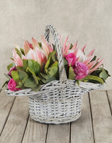 flowers: King Protea and Rose Basket!