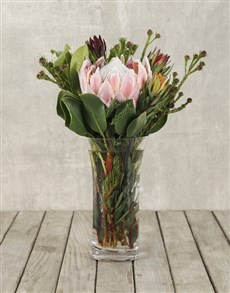 flowers: King Protea & Greens in Clear Flair Vase!
