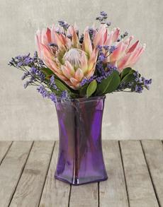 flowers: King Proteas in Lady Purple Vase!