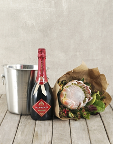 flowers: JC Le Roux Red King Protea Bouquet & Ice Bucket!