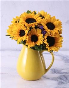 flowers: Sunflowers in Ceramic Water Jug!